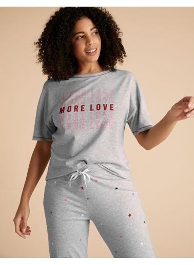 Marks & Spencer Sloganlı Kısa Kolu Pijama Üstü Gri